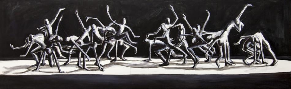 Aufeinenderzu Öl und Acryl auf LW, 50 x 160 cm
