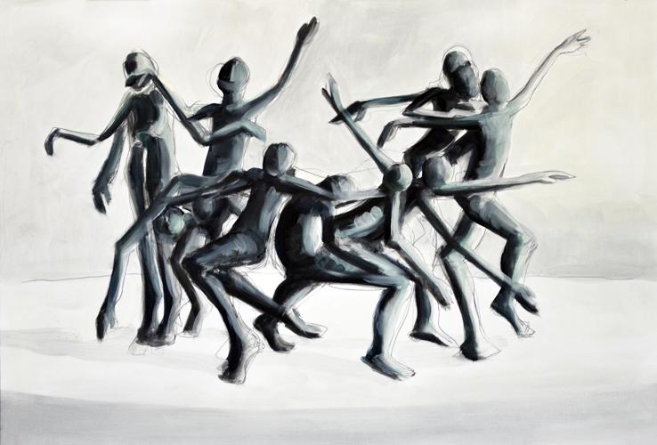 Aus der Bewegung 2014 Bleistift/ Öl auf Papier 44 x 64 cm