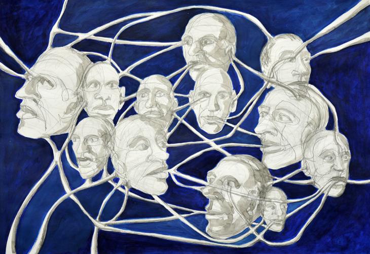 Connected 1 . 2015 Bleistift, Tusche und Öl auf Papier . 44 x 64 cm