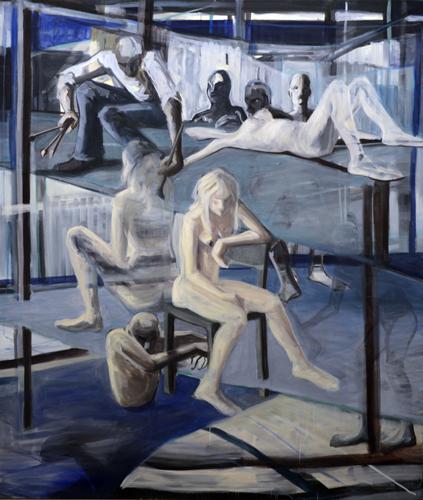 Der Schöpfer oder die Muse ? 2011- 14 Öl auf LW . 210 x 180 cm