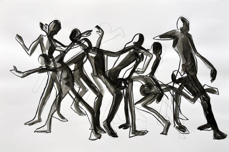 Fortlaufend 2014 Beistift, Kohle und Acryl auf Papier, 44 x64 cm