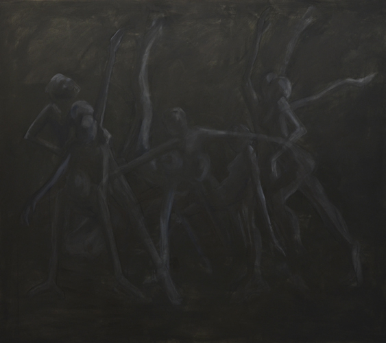 Tanz der Geister . 2013- 14 Acryl, Öl und Kohle auf LW . 160 x 180 cm