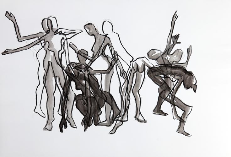Tanz I 2013 Kohle und Tusche auf papier, 44 x 64 cm