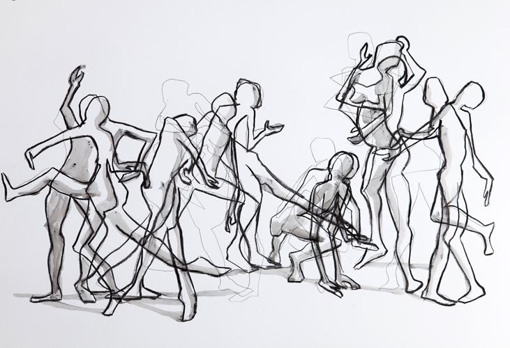 Tanz IV 2013 Bleistift/ Kohle und Tusche auf Papier, 44 x 64 cm