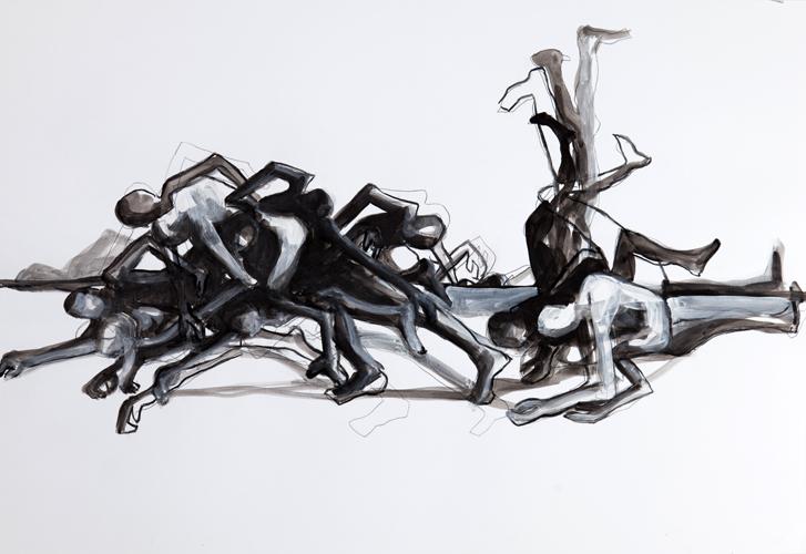 Haufen 2012 Acryl auf Papier, 44 x 64 cm