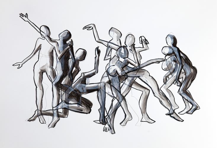 Tanz II Kohle/ Tusche und Acryl auf Papier, 44 x 64 cm