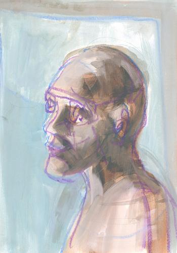 Kopf . 2012 Öl auf Papier . 30 x 20 cm
