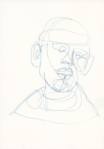 Kopf  Stift auf Papier . 30 x 20