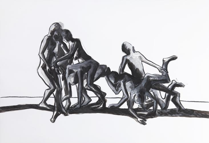Stolpern 2012 Kohle und Acryl auf Papier, 44 x 64 cm