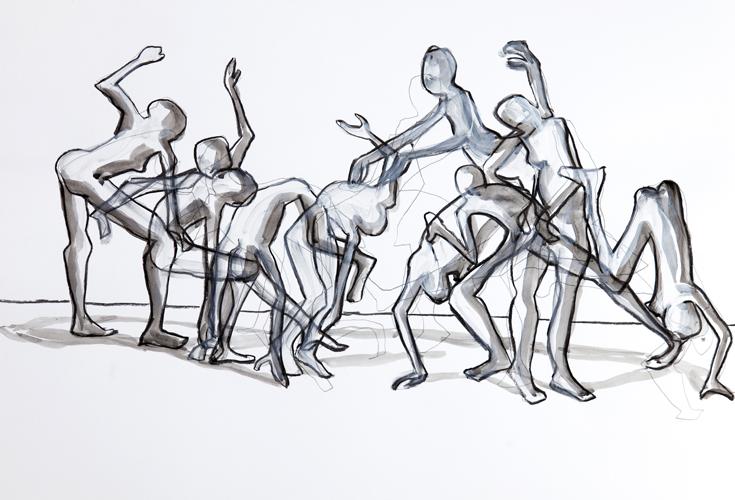 Tanz 1 2012 Kohle und Acryl auf Papier, 44 x 64 cm