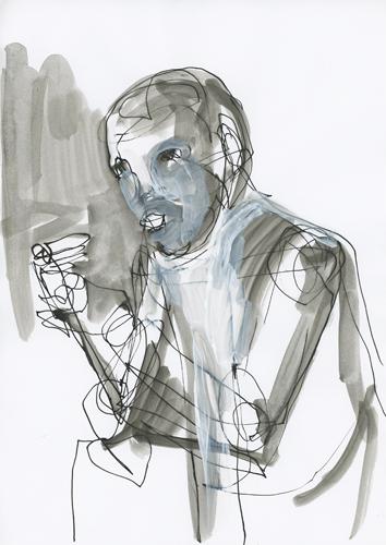 o.T. 2011 Tusche und Acryl auf Papier . 30 x 20 cm