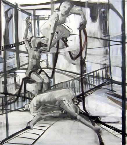 Verkettung 2010 Eitempera auf LW, 160 x 140 cm