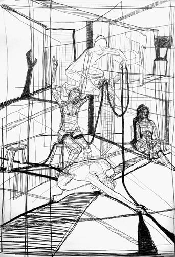 Verkettung 2010  Bleistift auf Papier, 64 x 44 cm