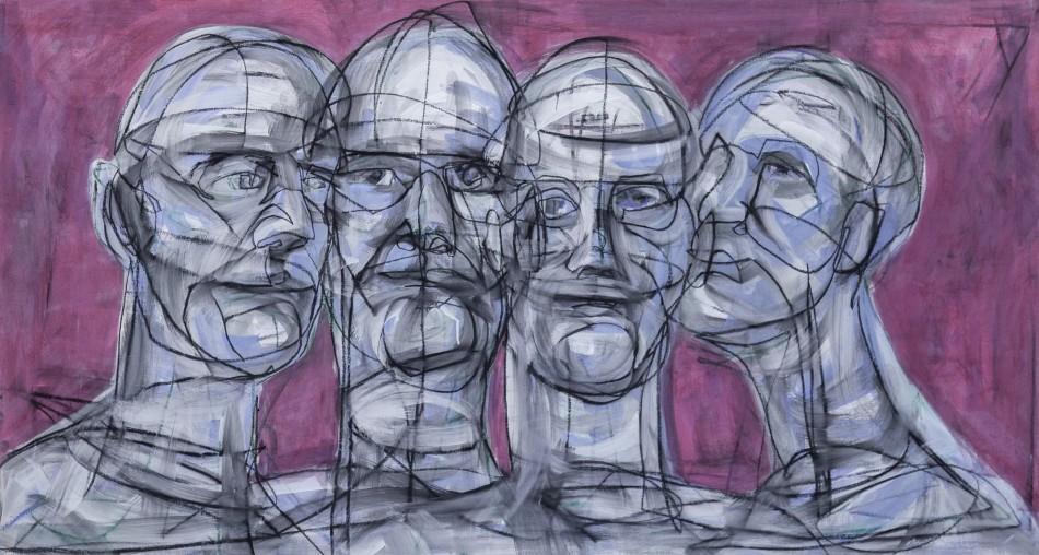 Vier Köpfe 2013 Acryl auf LW, 80 x 120 cm