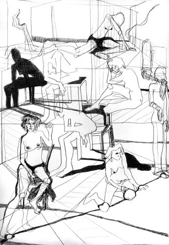 Warten 2011 Bleistift auf Papier, 64 x 44 cm