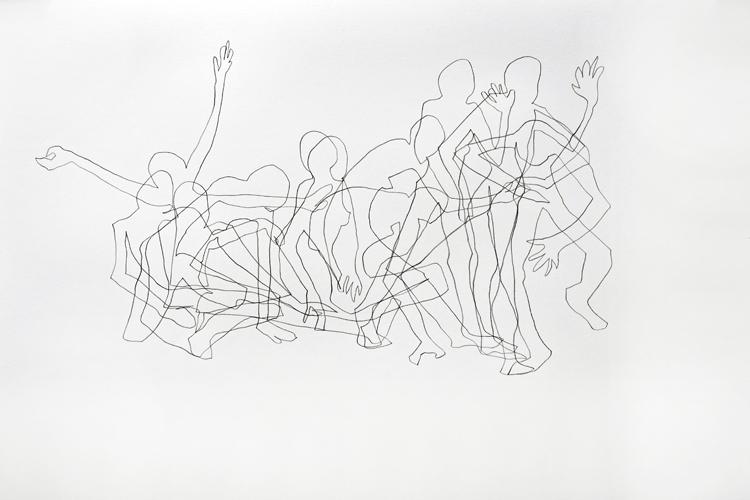 Bewgungsablauf 1-14 2014 Bleistift auf Papier . 44 x 64 cm