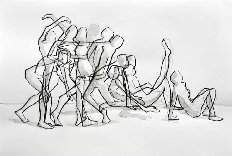 Zeichnung 2-14 . 2014 Bleistift, Kohle und Tusche auf Papier . 44 x 64 cm