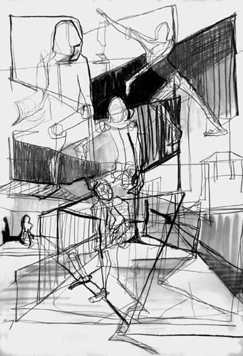 Zwischenräume 2010 Bleistift und Kohle auf papier, 64 x 44 cm