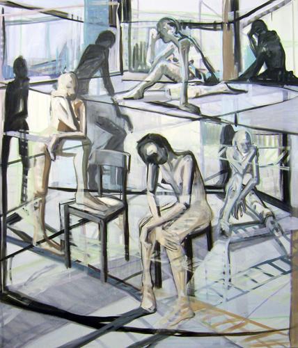 Gedankenräume 2011 Acryl und Öl auf LW, 210 x 180 cm