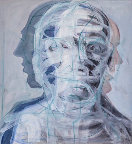 Köpfe 2013 Öl und Ölkreide auf LW, 120 x 110 cm