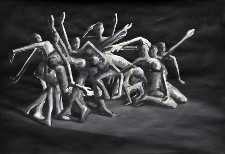 Verwoben . 2015/16 Öl und acryl auf Papier . 44 x 64 cm
