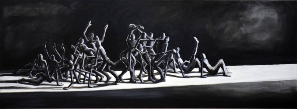 Auf dem Weg . 2015 Öl auf LW . 70 x 190 cm