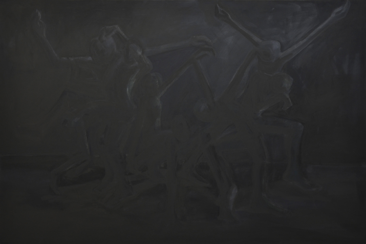 Der schwarze Tanz . 2013 - 14 Öl auf LW . 180 x 120 cm