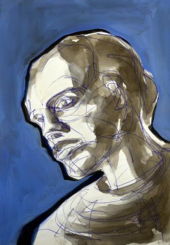 Frauenkopf . 2015<br>Kuli, Acryl und Öl auf Papier . 30 x 20 cm