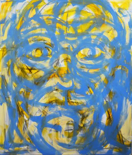 Kopf 2015 Acryl und Stift auf LW . 210 x 180 cm