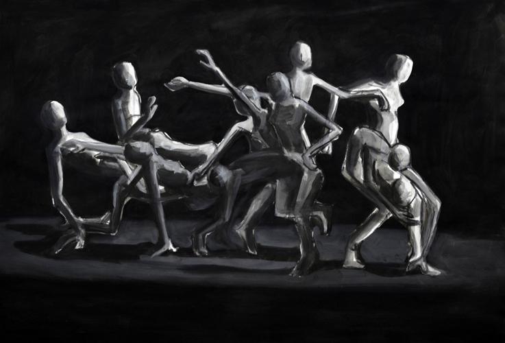 Transformation . 2012/16 Acryl und Öl auf Papier . 44 x 64 cm