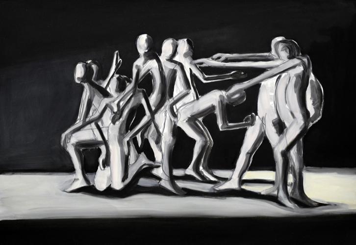 Zur Lichtquelle . 2016 Öl auf Papier . 44 x 64 cm