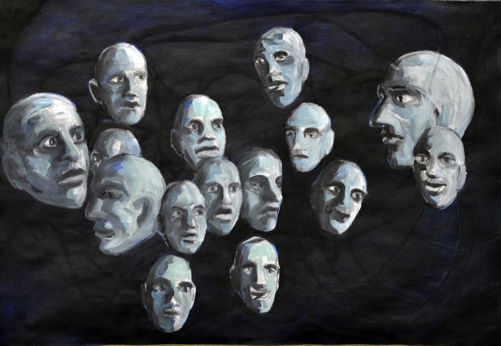 Schwebend 1 . 2015 Öl auf Papier . 44 x 64 cm