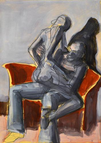 Rotes Sofa . 2016 Öl auf Papier . 29 x 21 cm