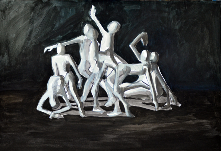 o.T. 2 . 2016 Öl auf Papier . 44 x 64 cm