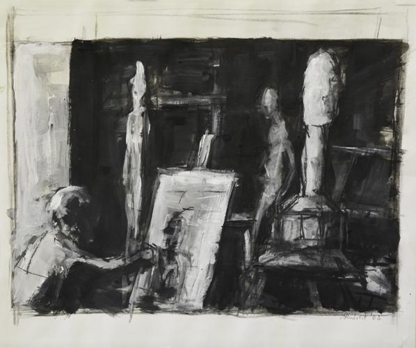 Hommage an Giacometti Nr 1 . 2003 Kohle/ Acryl auf Papier . 40 x 47 cm
