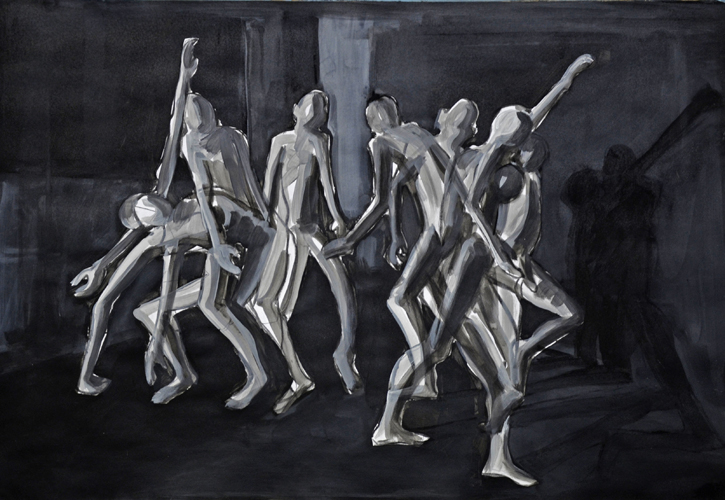 Searching . 2019 Kohle und Acryl auf Papier . 44 x 64 cm