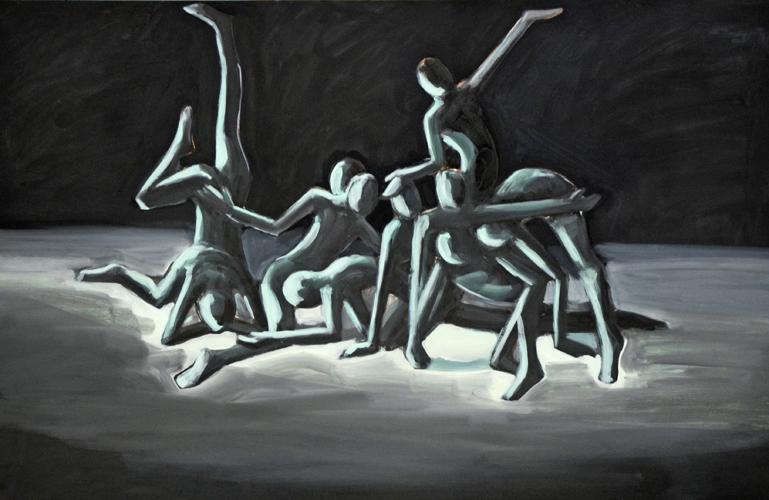 Dancing movement . 2019 Öl auf Papier. 42 x 64 cm