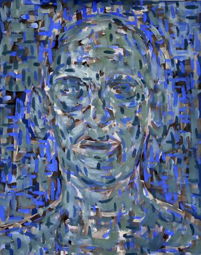 Kopf aufgelöst blaugrün . 2020 Öl auf Papier . 41 x 34 cm