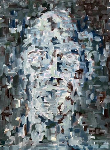 Kopf aufgelöst V . 2021 Öl auf Holz . 70 x 52 cm